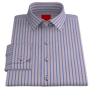 Pinstripe Red & Blue Oxford