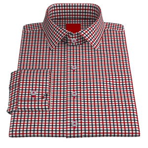 Red Navy Check Twill